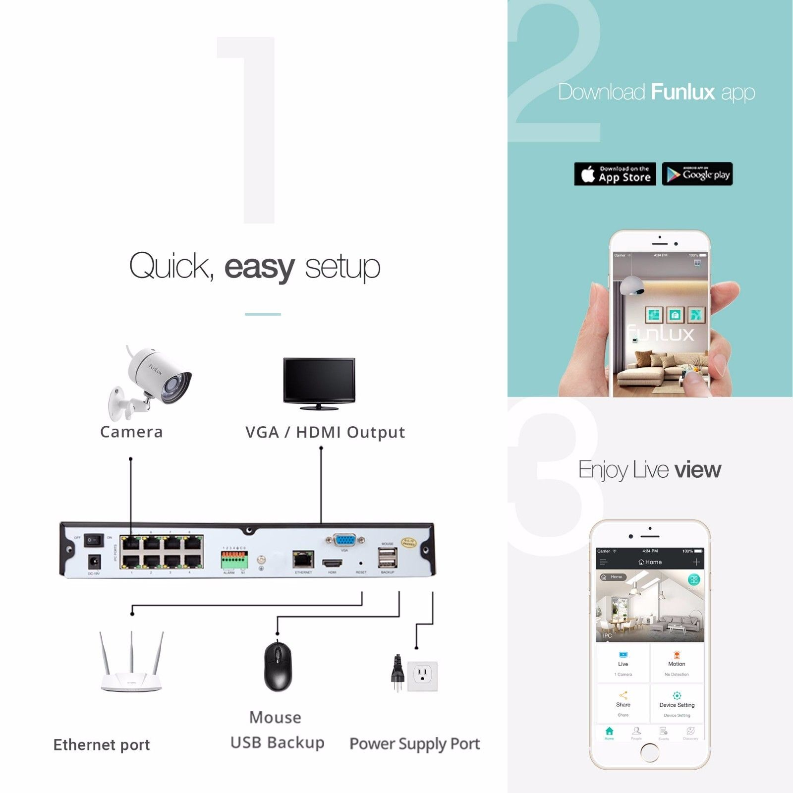 Funlux 8CH NVR Outdoor IP Network Home Security Camera System